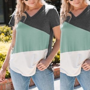 Sea foam & Heather Gray Tilted V-Neck Top